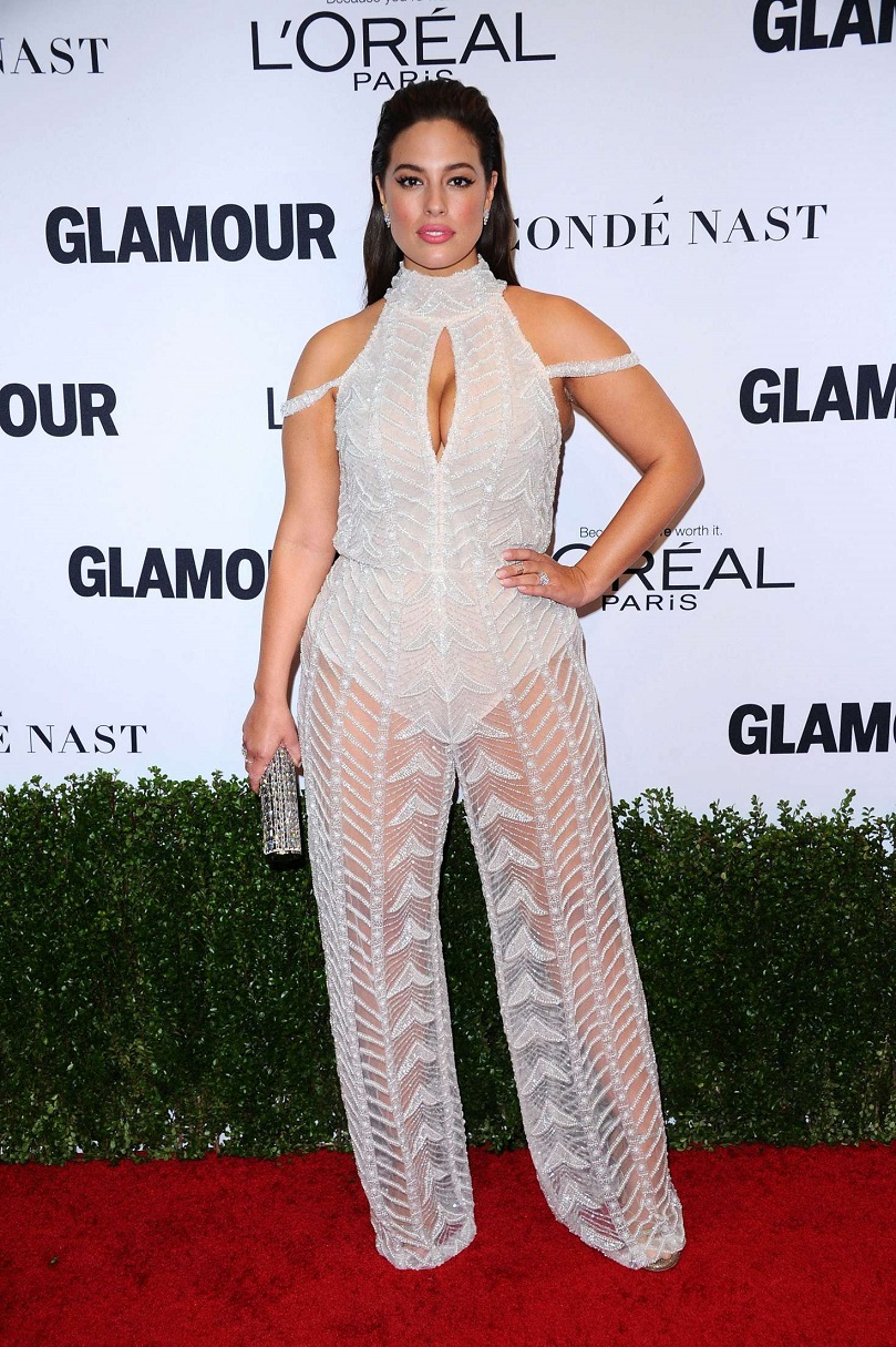 Ashley Graham wears clingy mesh jumpsuit to the Glamour Women of the Year Awards 2016