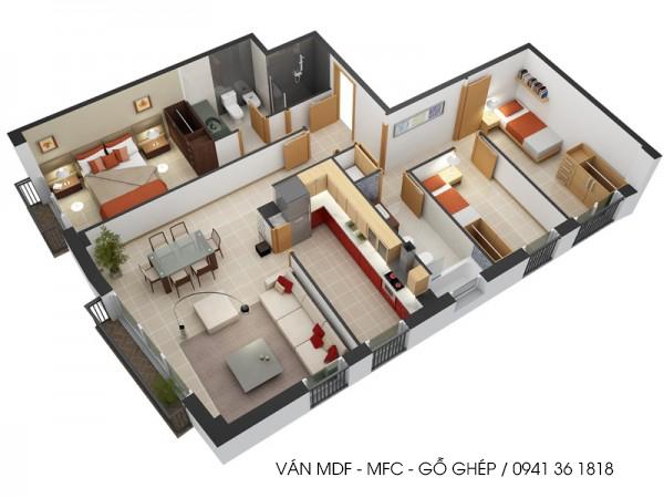 nội thất căn hộ bằng ván mdf phủ melamine