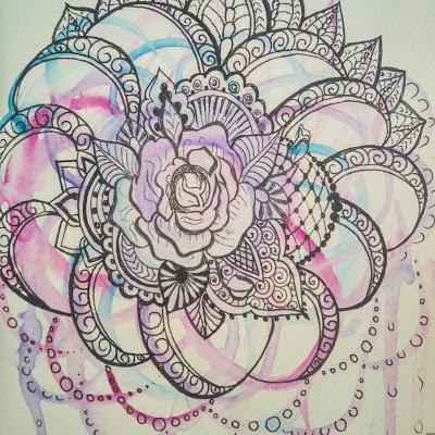 акварель цветок мехенди