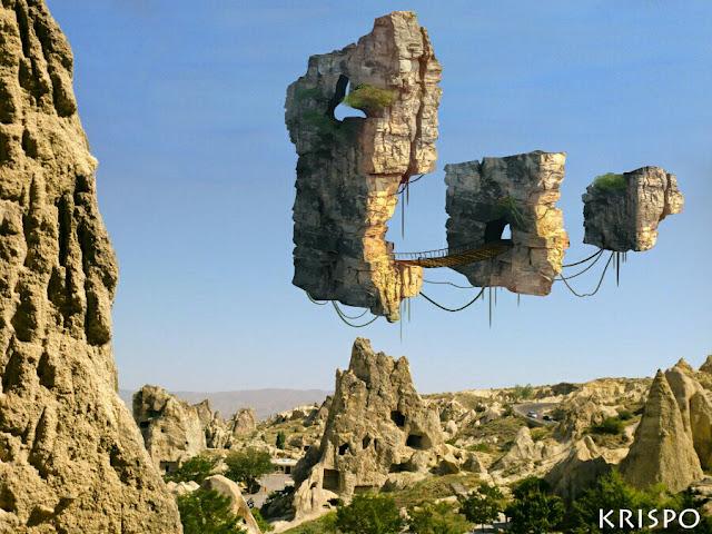 rocas flotantes sobre rocas en capadocia