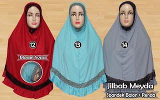 Jilbab meyda sefira model syria kombinasi renda nan syar'i