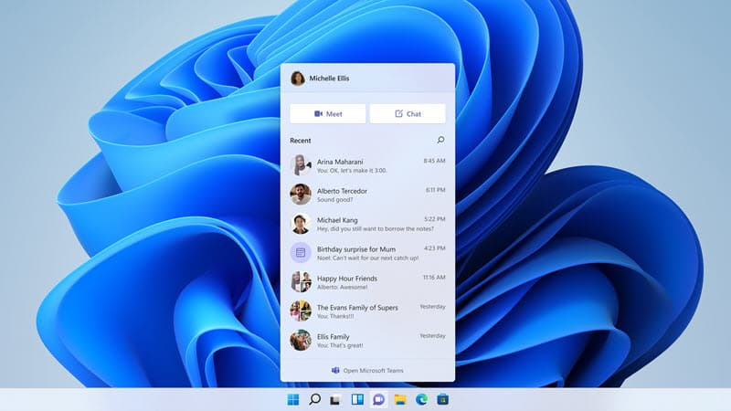 Microsoft Teams chat integration in Windows 11 Build 22000.100
