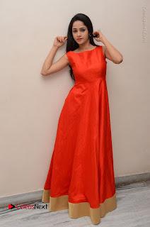 Telugu Actress Divya Nandini Stills in Orange Sleeveless Gown at Chennai Chaitrama Movie le Launch Event  0128.JPG