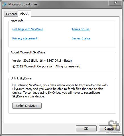 SkyDrive Software Unlink
