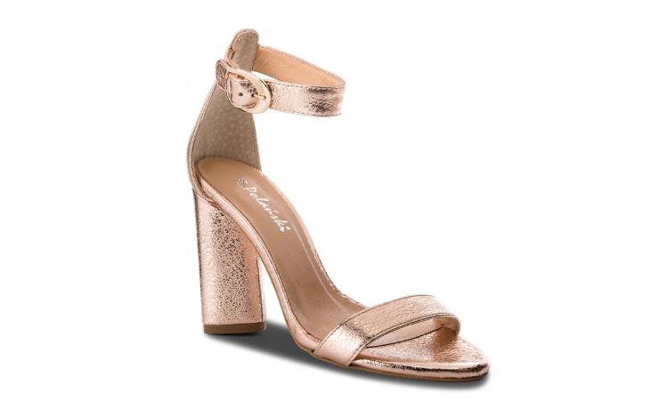 Sandale aurii din piele naturala cu toc gros la reducere R.POLAŃSKI