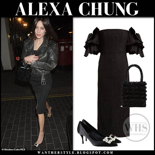 Alexa Chung in black off shoulder dress with black crystal buckle pumps night out style january 30