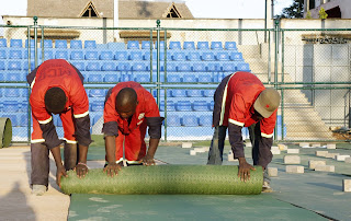 Finalizing on the Uwanja Wa Mbuzi football stadium in Kongowea. PHOTO | Courtesy