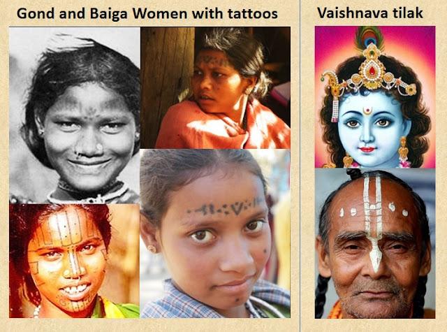 Vaishnava tilaks on women of the Gond and Baiga tribes