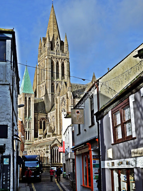 Truro Cathedral and narrow roads