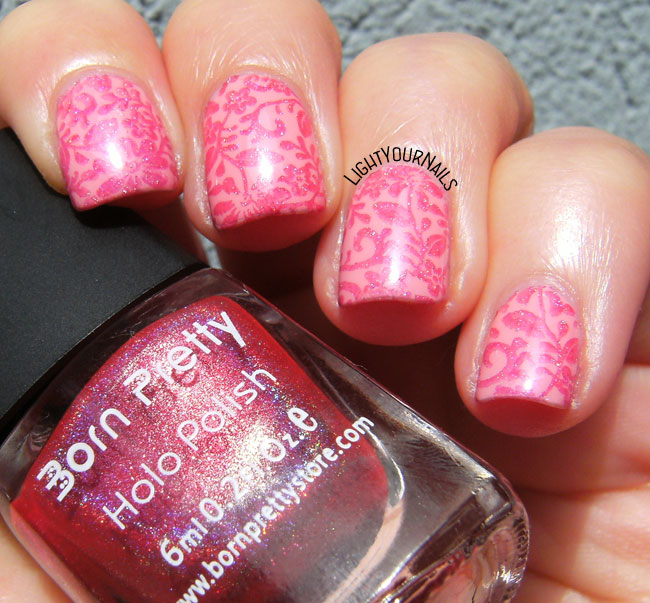 Pink flowers stamped nail art with plate BP-83