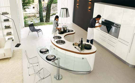 The Last Curved Kitchen Island Looks Modern With Glossy White Color This Is Located In Middle Of Opposite Oven Cabinet