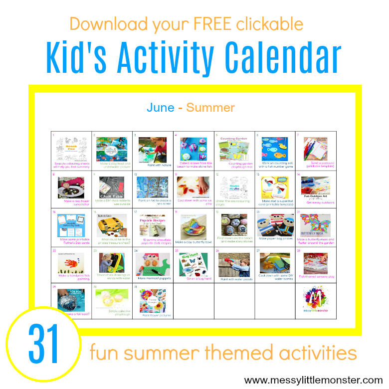 Summer Activity Calendar for Kids - 31 fun summer themed ...