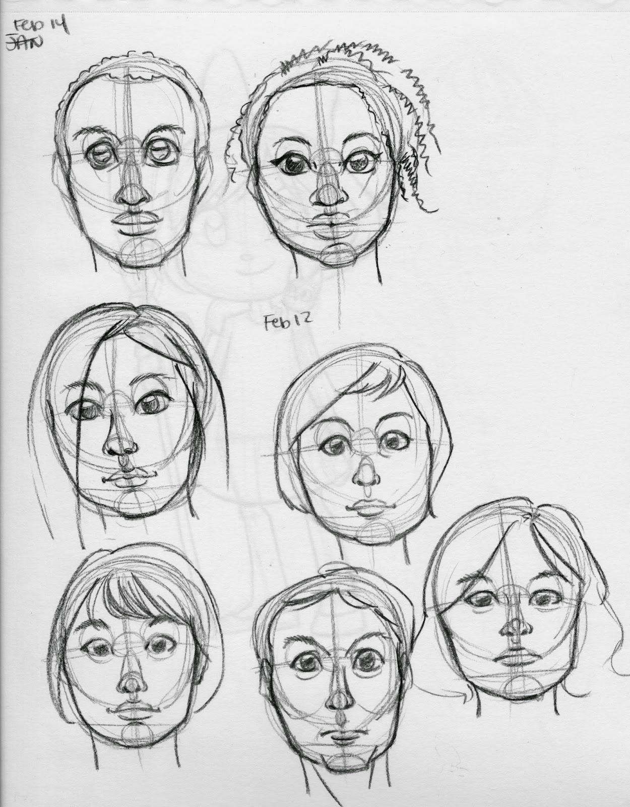 facial studies, Becca Hillburn, face construction