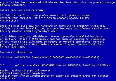 Prevent yourself from Blue Screen of Death - PC crash ~ Hack
