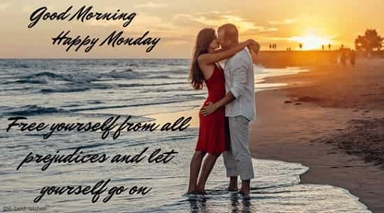 happy blessed monday quotes with couple kiss