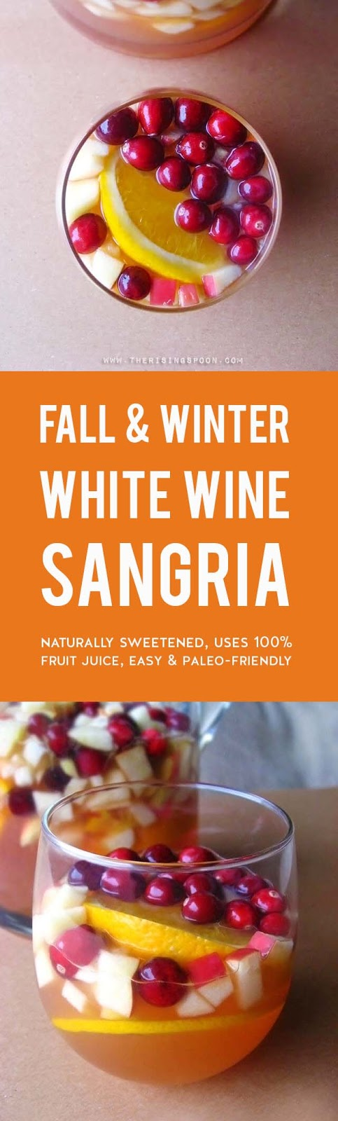 An easy white wine sangria recipe featuring gorgeous fall and winter ingredients like cranberries, apples, and oranges. This drink is refreshing, not too sweet, and even slightly healthy with the addition of 100% unsweetened cranberry juice. It's elegant enough to serve at a holiday gathering, yet simple enough for a low-key weeknight dinner. (gluten-free & paleo)