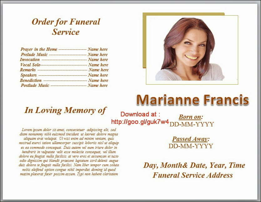 tribute letter single fold funeral program template celebration – Sample of Funeral Programs