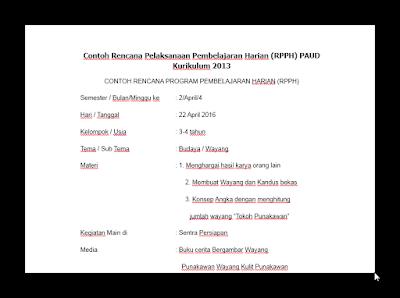RKH/RPPH TK/PAUD Usia 3-4, 4-5 dan 5-6 tahun Lengkap 2016/2017