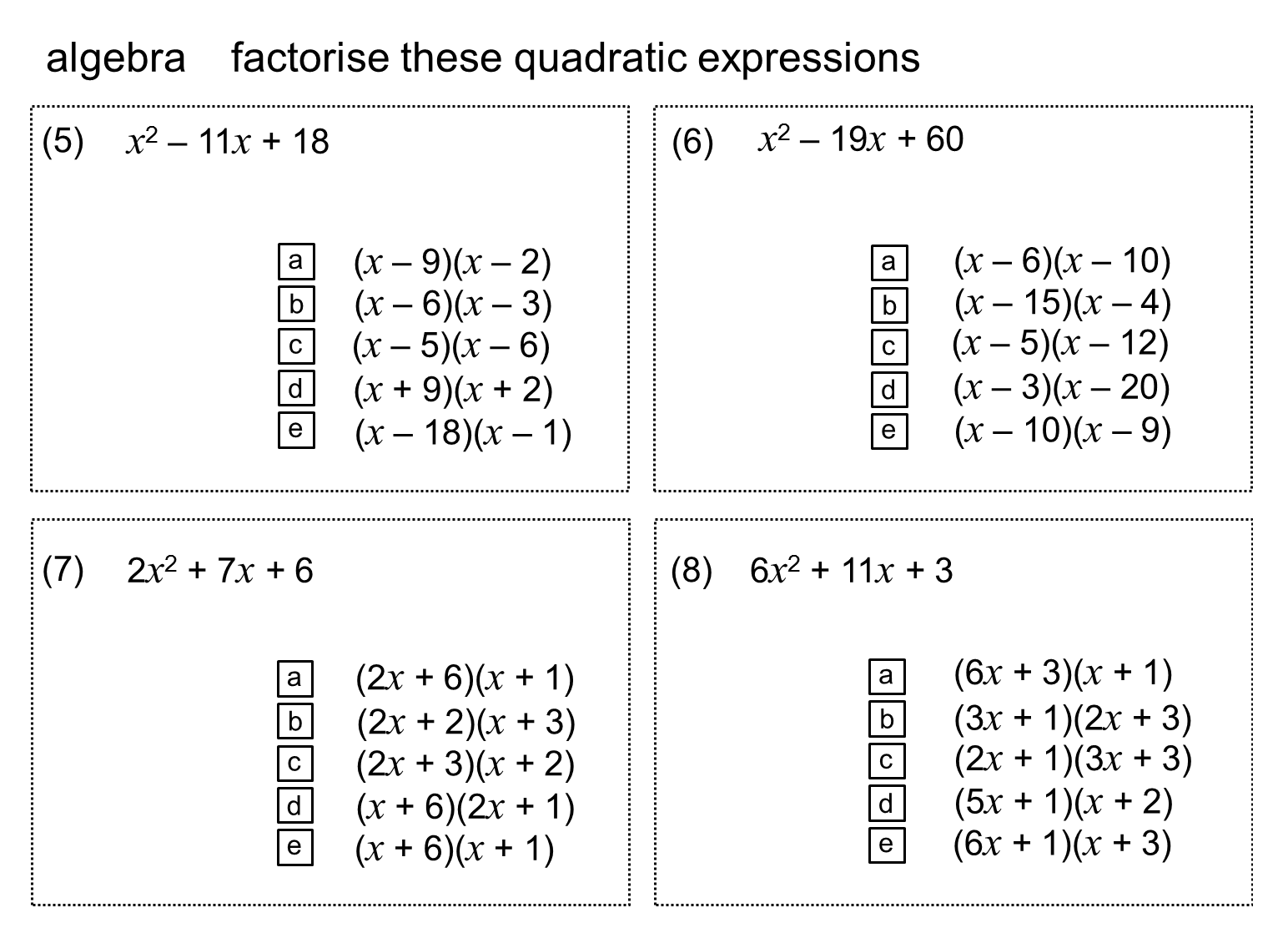 Median Practice And Quiz Questions Algebra Expanding And Factorising Quadratics
