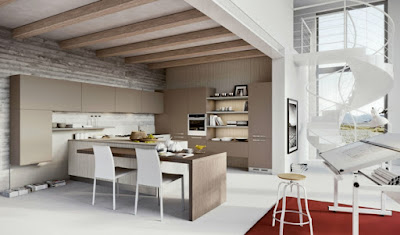 interesting proposal modern kitchen with rustic details on walls and ceiling