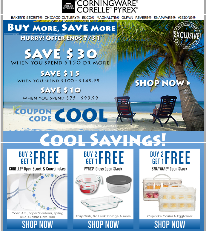 Corningware Outlet Coupon Codes, Promos & Sales. Want the best Corningware Outlet coupon codes and sales as soon as they're released? Then follow this .