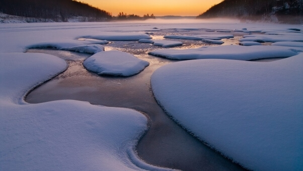 Desktop HD Wallpaper Winter Ice River Snow