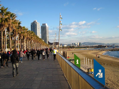 Barcelona promenade and Barceloneta beach