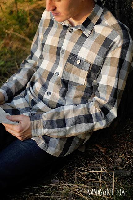 koszula, męska, jak uszyć, szycie na maszynie, wrocław, warsztaty, kurs szycia, karczek, drewniane guziki, len,#samauszylam, rady, porady, wskazówki, jak szyć