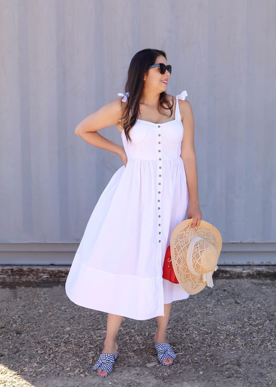 white dress with gingham shoes