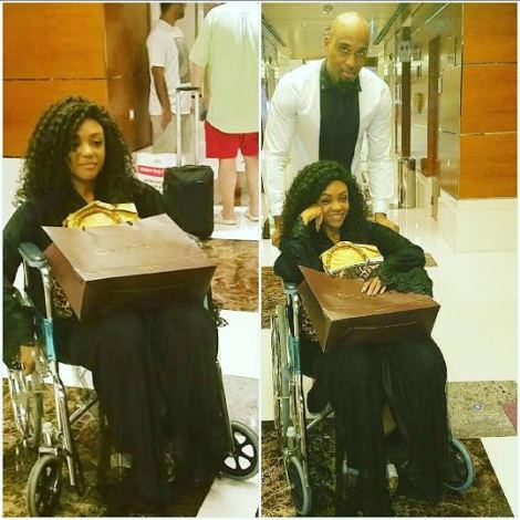 Billionaire wife, Fifi Umenyiora on her wheelchair for shopping