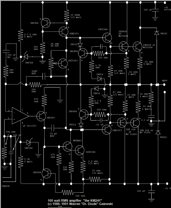 100w subwoofer amplifier circuit diagram wiring diagrams seymour duncan rms digital transformer for guitar