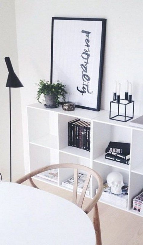 Ikea hack for Kallax shelving in Scandinavian chic room - found on Hello Lovely Studio