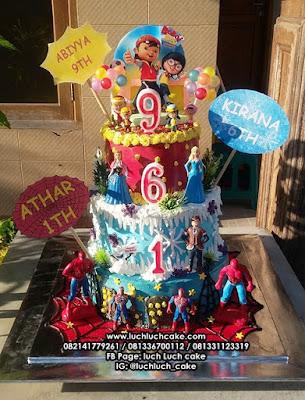 Kue Tart Ulang Tahun Kartun Boboiboy, Spiderman, Frozen Tingkat
