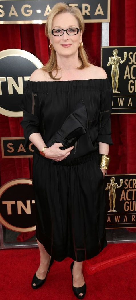 Meryl Streep in a simply elegant black dress at the SAG Awards 2014