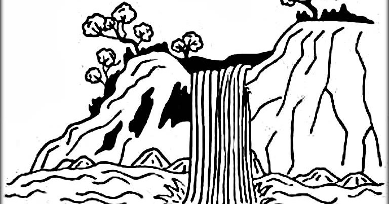 amazing waterfall coloring picture printable