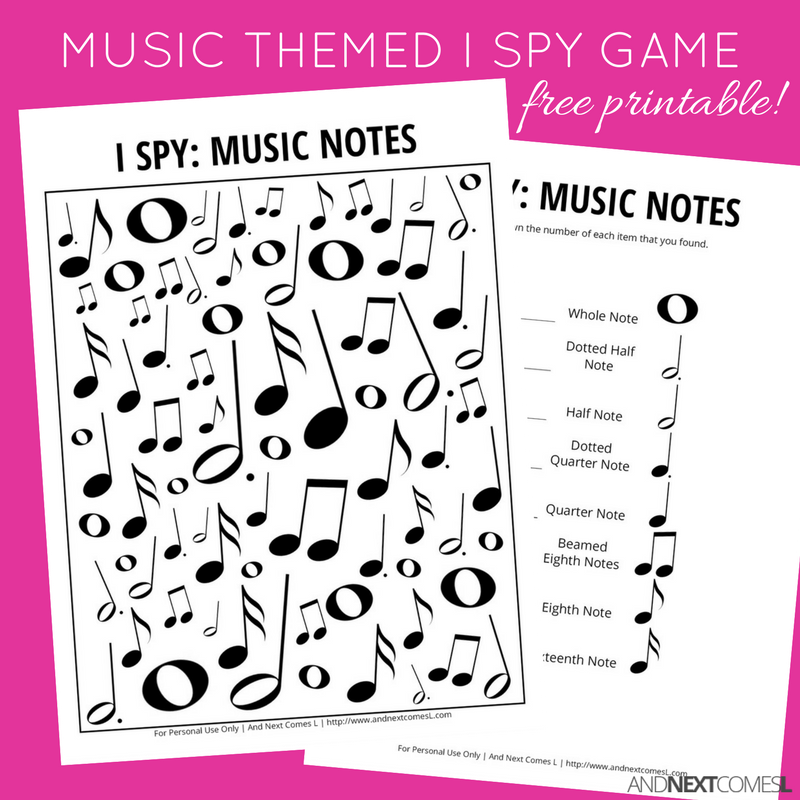 graphic regarding Music Notes Printable named Songs Notes Themed I Spy Recreation Free of charge Printable for Little ones