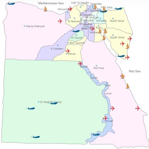 رسم بياني للسياحة في مصر