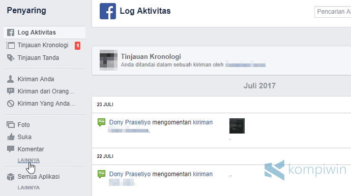 penyaring log aktivitas history pencarian facebook