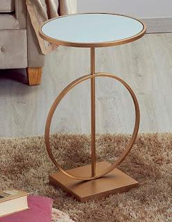 mesa auxiliar moderna acero oro
