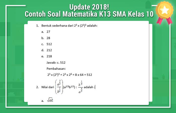 Contoh Soal Matematika K13 SMA Kelas 10