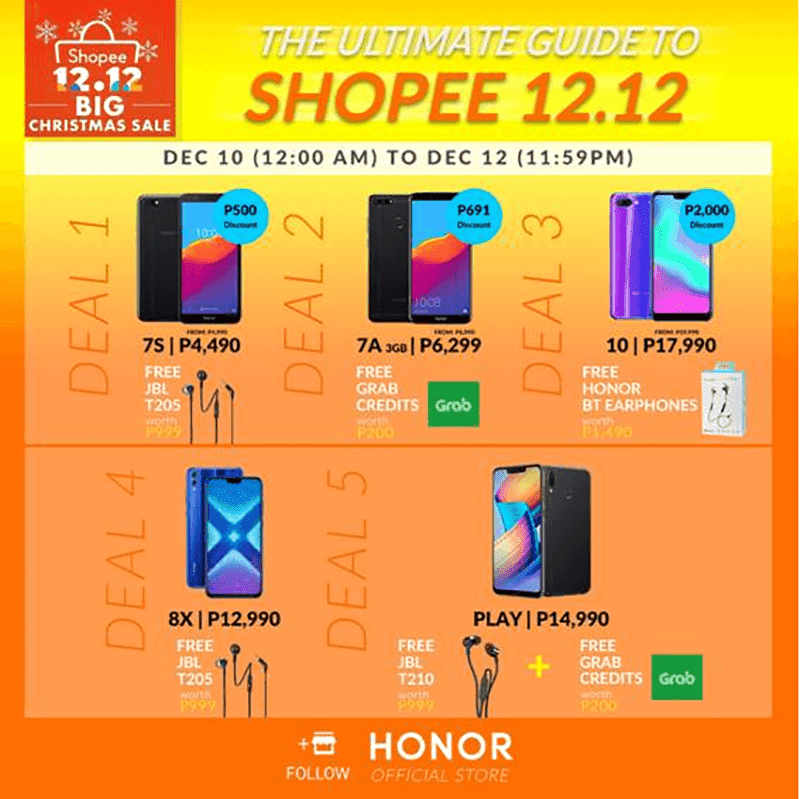 Deals from Honor for the Shopee 12.12 sale