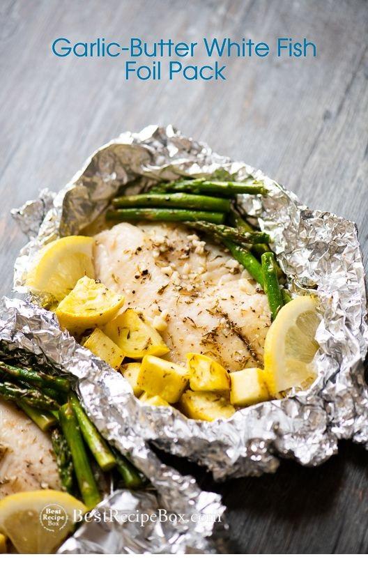 15 minute Foil Baked Garlic Butter White Fish