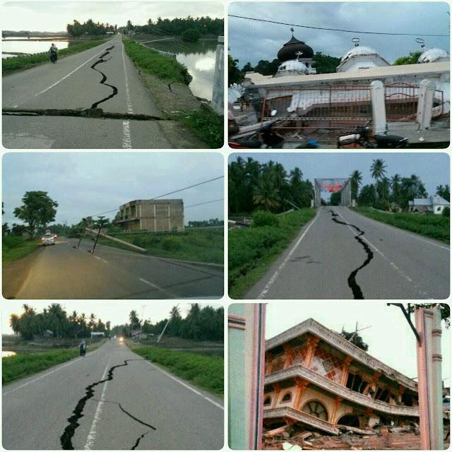 Jalan dan bangunan akibat gempa aceh