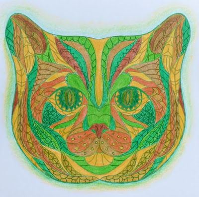 Adult coloring: cat's head