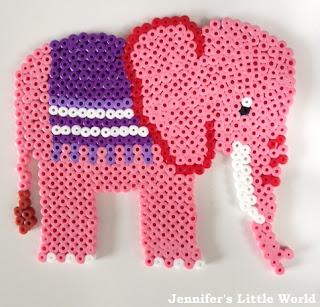 Pink Hama bead elephant
