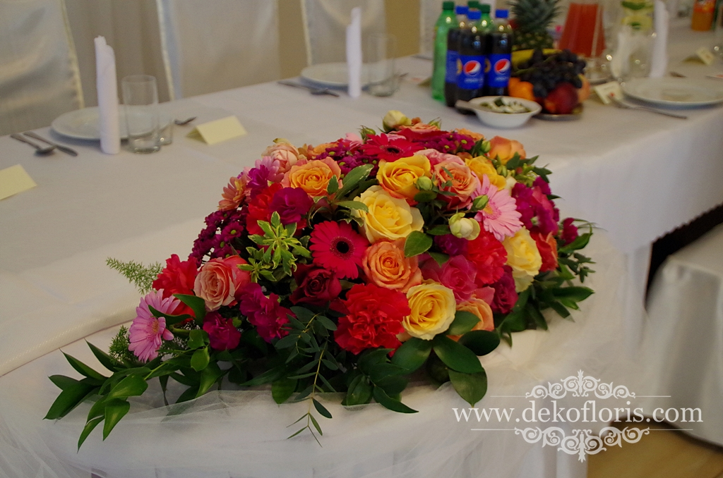 Różowo pomarańczowa dekoracja sali Turawa opolskie