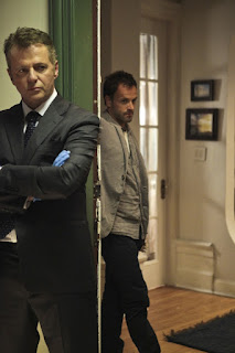 Jonny Lee Miller and Aidan Quinn as Sherlock Holmes and Captain Gregson in Elementary Pilot Episode