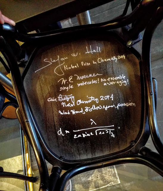 Chair signed by Nobel Laureate William Moerner at the Nobel Museum in Stockholm, Sweden