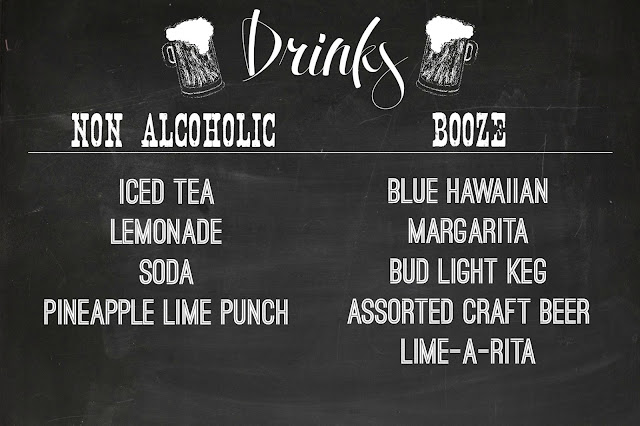 Chalkboard drink menu made in PicMonkey