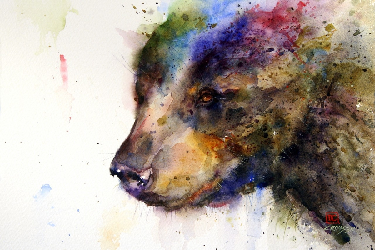 04-Black-Bear-Dean-Crouser-A-Love-of-the-Outdoors-Spawns-Animal-Watercolor-Paintings-www-designstack-co